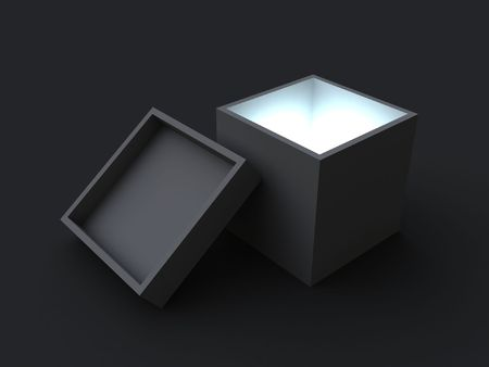 intrigue: Mystery box. A gray opened box, with a blue light inside of it. Stock Photo
