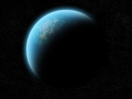 Planet half illuminated. A planet (maybe earth) half illuminated, half shadow. Over a black space with stars. The planet is blue, green, brown, yellow, red and orange (water, grass, mountains, desert). It has a blue glow, like an atmosphere. Stock Photo