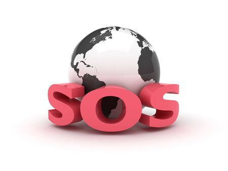 A 3d globe with an SOS sign Stock Photo - 4585503
