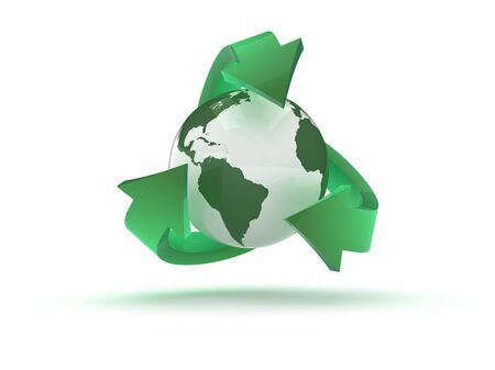 The recycling icon in 3d photo