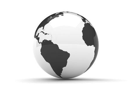 Un globe terrestre en 3D en noir et blanc Banque d'images - 4585508