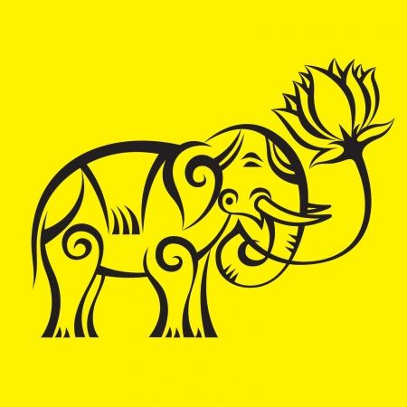 Indan Elephant   Lotus Illustration