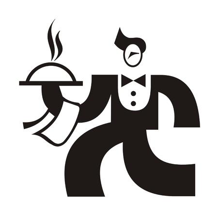 logos restaurantes: Camarero con bandeja