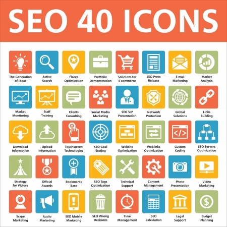 internet marketing: SEO 40 Icons  Search Engine Optimization  Illustration