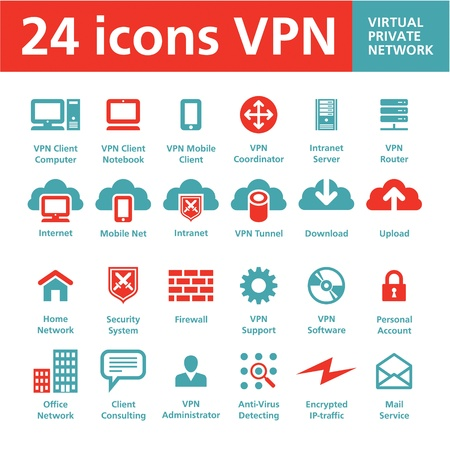 network server: VPN 24 Icons  Virtual Private Network  Illustration