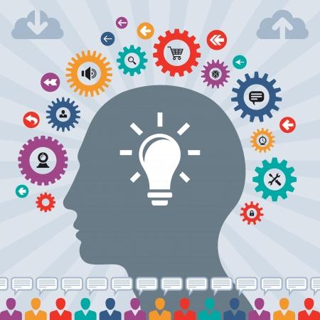 Infographics Concept of Social Media with a Human Head Ilustração