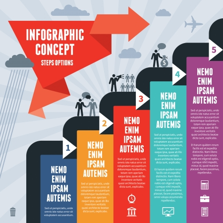 Infographic Business Concept Stappen Opties