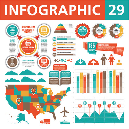 network map: Infographics Elements 29 Illustration