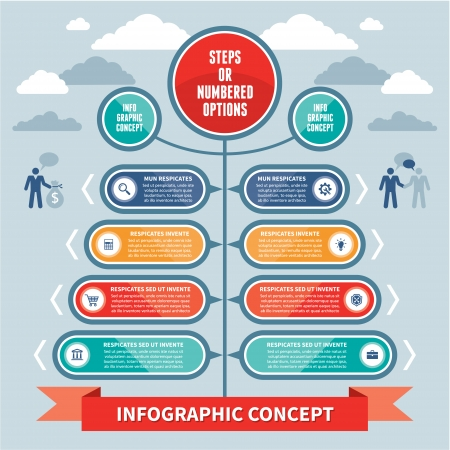 Infographics Concept - Steps or Numbered Options - Vector Scheme Imagens - 22895735