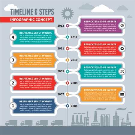 time line: Info graphic Vector Concept - Time Line   Steps for industrial factory   business illustration - banner template