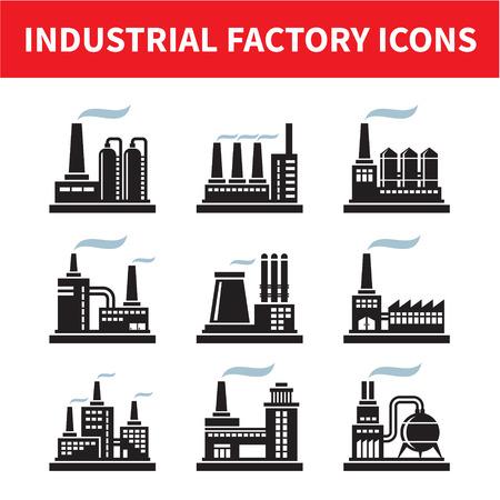 industria quimica: Iconos de f�brica industriales - Set Vector Vectores