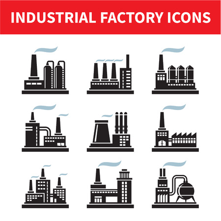 chemical plant: Industrial Factory Icons - Vector Set