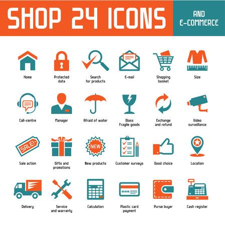 Shop 24 Vector Icons - Internet Shoppin   E-Commerce Illustration