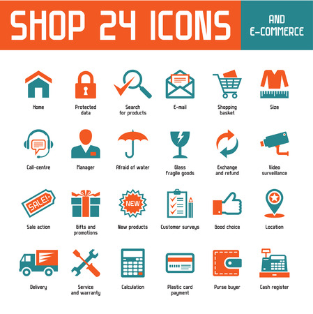home products: Shop 24 Vector Icons - Internet Shoppin   E-Commerce Illustration