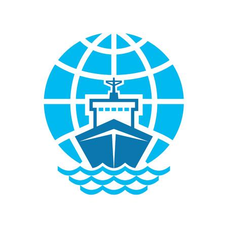 vague ocean: Ship Globe Logo Connexion