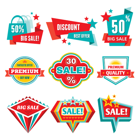 Sale   Discount Badges - Abstract Vector Signs Imagens - 23126191