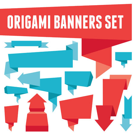 Origami Banners Set Imagens - 23126195