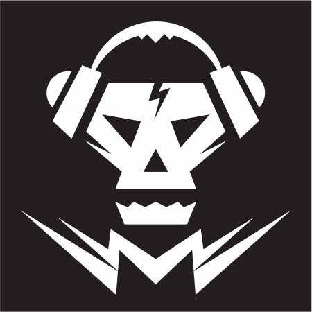 thrash: Skull Music Logo - Vector Sign Illustration
