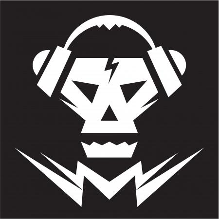 Skull Music Logo - Vector Sign Иллюстрация