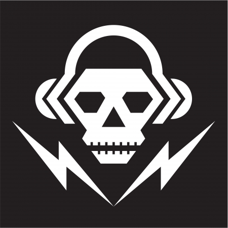 Skull Music Logo - Vector Sign 02
