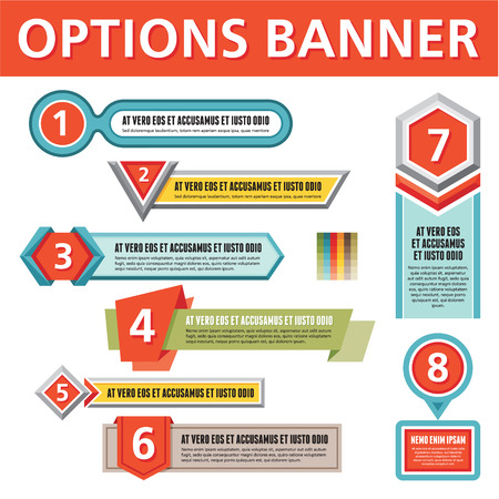 Options Banners for Creative Infographics, layout, diagram, number options, web design, prints