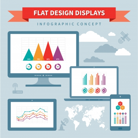 Flat Design Displays - Vector Infographics Concept