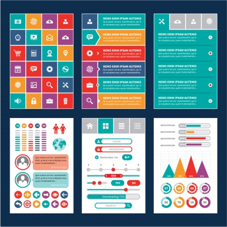 icon web: Flat Mobile Interface - Design Elements - Infographics Template