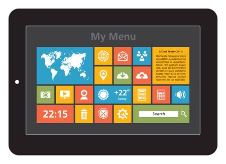 Tablet Interface - Icons Set Vector