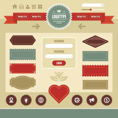 interface web: Web Interface Vintage Illustration