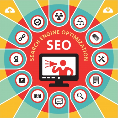 SEO Search Engine Optimization Infographics Concept
