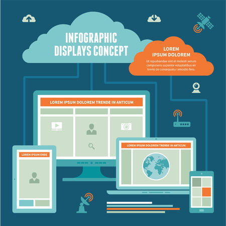 Infographic Displays Concept - Vector Scheme of Internet Connection with computer monitor, notebook, digital tablet   mobile devices on blue background  Vector