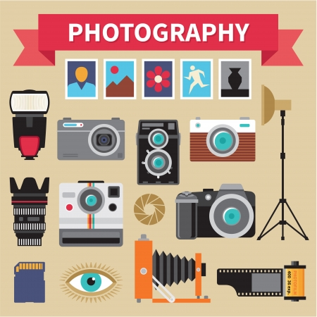 vintage camera: Photography - Icons Vector Set - Creative Design Pictures
