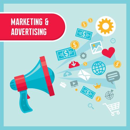 Marketing   Advertising - Loudspeaker Concept Illustration