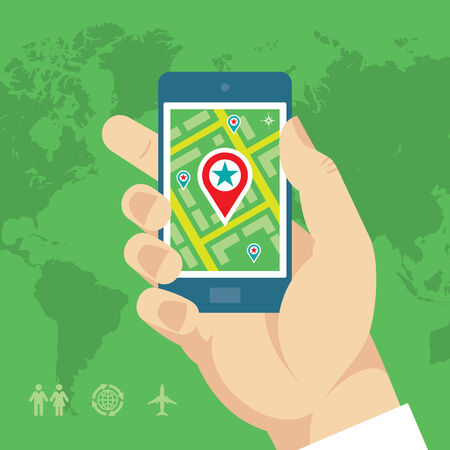 Smartphone with Map   Location in Human Hand Vector