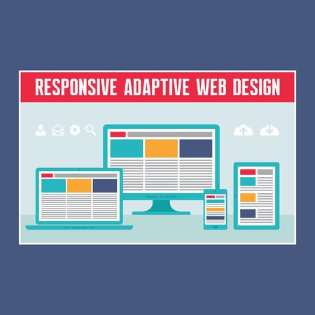 Responsive Adaptive Web Design in Flat Design Style Stock Vector - 26048453