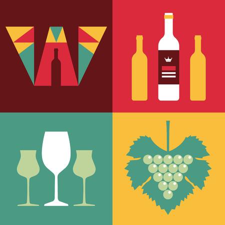 winemaking: Illustration of Wine in Flat Design Style