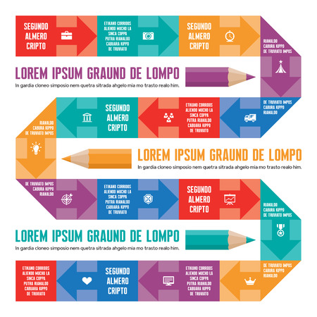 infogaphics: Infographic Concept Line with Arrows, Text and Icons Illustration
