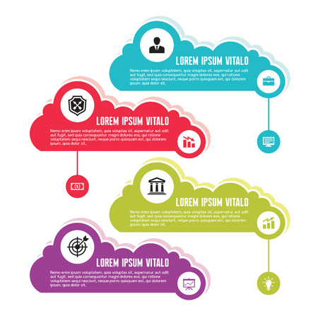 numbered: Infographic Business Concept for Presentation - Vector Scheme with Icons and Clouds in Flat Design Style  Illustration