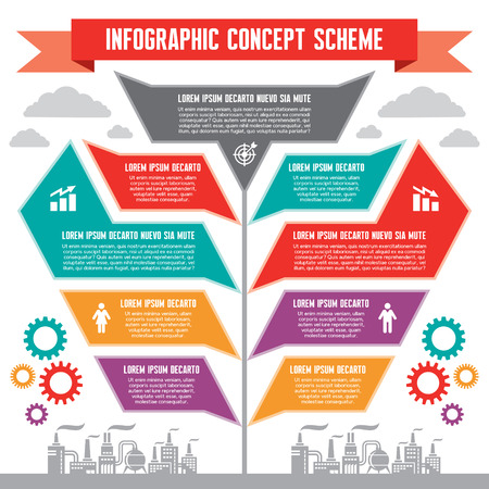 Infographic Concept for Presentation - Business Vector Scheme with Factory Signs Illustration