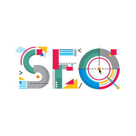 Abstract Illustration concept - SEO word - Search Engine Optimization - Original Creative Logo Sign in flat design style for success internet searching  Çizim