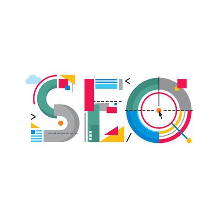 Concepto abstracto Ilustración - SEO palabra - Search Engine Optimization - Original Logo Sign creativo en estilo diseño plano para el éxito búsquedas en Internet Foto de archivo - 27449158