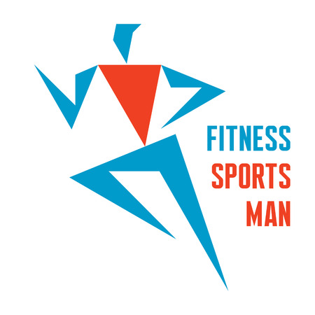 Fitness Sports Man - running man - vector logo sign design template  Business company, fitness center, sport club creative concept icon  Vector