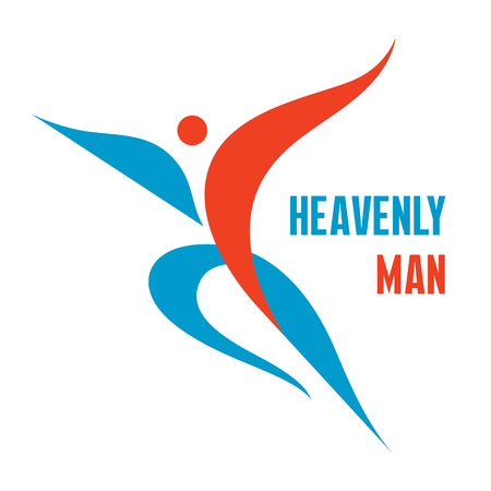 healthy exercise: Heavenly Man - Creative Logo Sign in Classic Graphic Style for Business Company, Fitness Club, Sport Festival, Healthcare Center and more