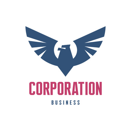 corporation: Corporation - Eagle Logo Sign in Classic Graphic Style for Business Company