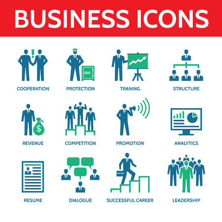 12 Business Icons in blue and green colors Vector