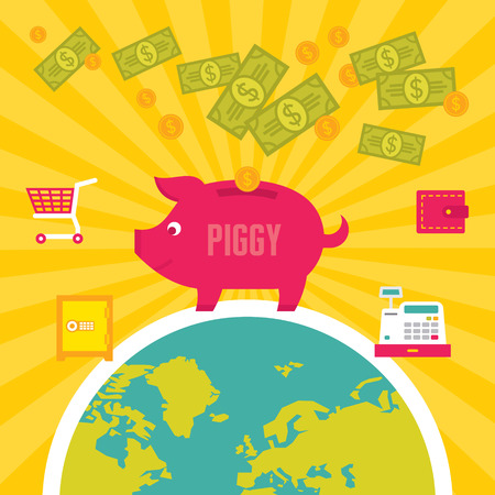 moneybox: Hucha Piggy Ilustraci�n en Flat Dise�o Estilo Vectores