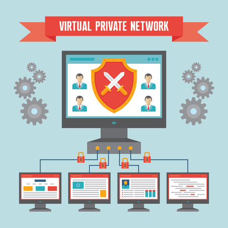 vpn: VPN Virtual Private Network  - Illustration Concept in Flat Design