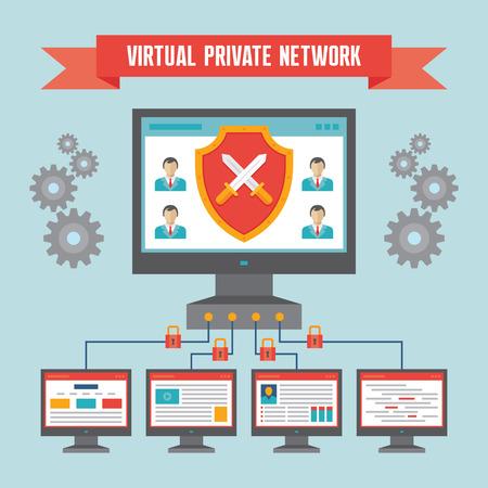 tunel: VPN Virtual Private Network - Ilustración del concepto de diseño plano