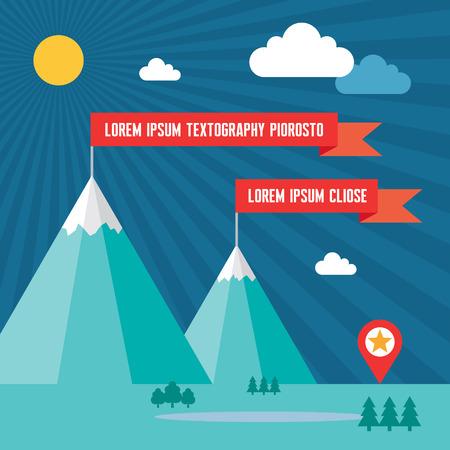 neve montagne: Montagne di neve con bandiere rosse a Flat Stile Design