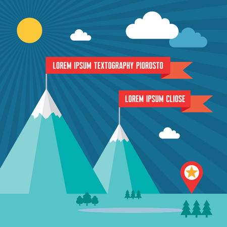 rock climb: Snow Mountains with Red Flags in Flat Design Style